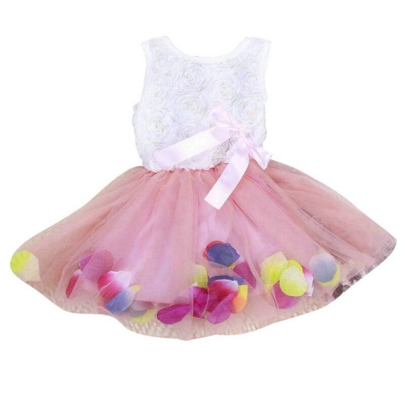 Kinder Mädchen Prinzessin Kleider Kleinkind Sleeveless Mesh Kleid Tutu Spitze Blume Bogen Kleider Pageant Party vestidos Kleidung