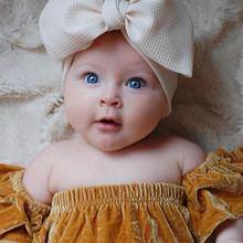 Solid Color Bow Newborn Headband Big Bow-knot Nylon Kid Infant Wide Headbands Adjustable Cotton Baby Turban Fit All