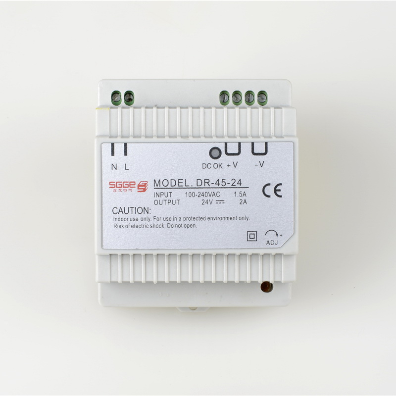 DR45-24 45W 24V 2A Din rail Single Output Switching power supplyac dc converter SMPS 45w din rail mount switching power supply 24v single output ac led input smps dr45 24v for cnc led light direct selling