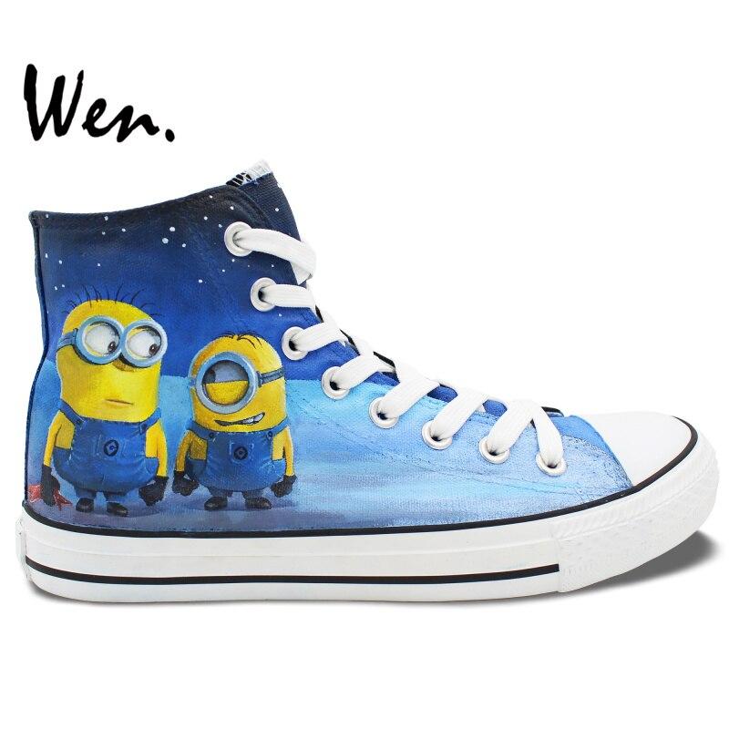 Prix pour Wen Peint À La Main Toile Sneakers Custom Design Minions Despicable Me Hommes Femmes Bleu de Haute Top Toile Sneakers