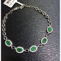 2017 Sale Qi Xuan_Trendy Jewelry_Colombia Green Stone Fashion Bracelets_S925 Solid Silver Green Bracelet_Factory Directly Sales