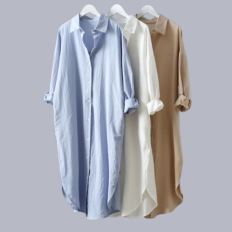 VogorSean Cotton Women Blouse Shirt 2020 Summer New Linen Cottons Casual Plus Size Womans Long Section Shirts White/Blue