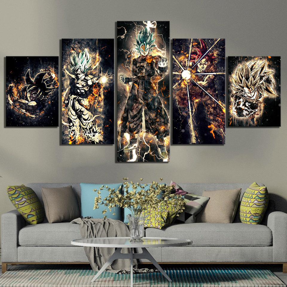 5 Piece Cartoon Artwork Paintings Dragon Ball Poster Animation Art Canvas Paintings Abstract Wall Art for Home Decor 2