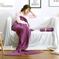 100% Katoen breien mermaid deken Thuis sofa vrouwen Gebreide deken leisure airconditioning dekens Groothandel gratis verzending