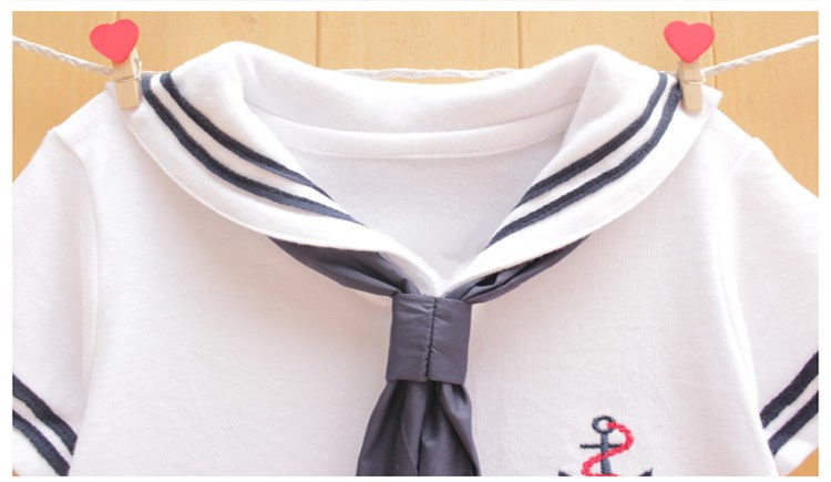 17 Newborn baby clothes White Navy Sailor uniforms summer baby rompers Short sleeve one-pieces jumpsuit baby boy girl clothing 4