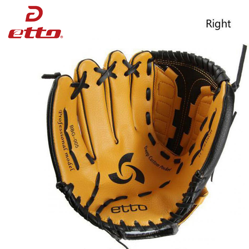Etto New Top Quality Men Professional Baseball Glove Right Hand Male Beisbol Training Glove Kids For Match Softball HOB002Y macgregor bbmesh 12 5 inch baseball utility glove page 8