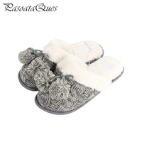 2017 New Winter Autumn Grey Knitting Cotton Padded Women Shoes Indoor House Non Slip Warm Home
