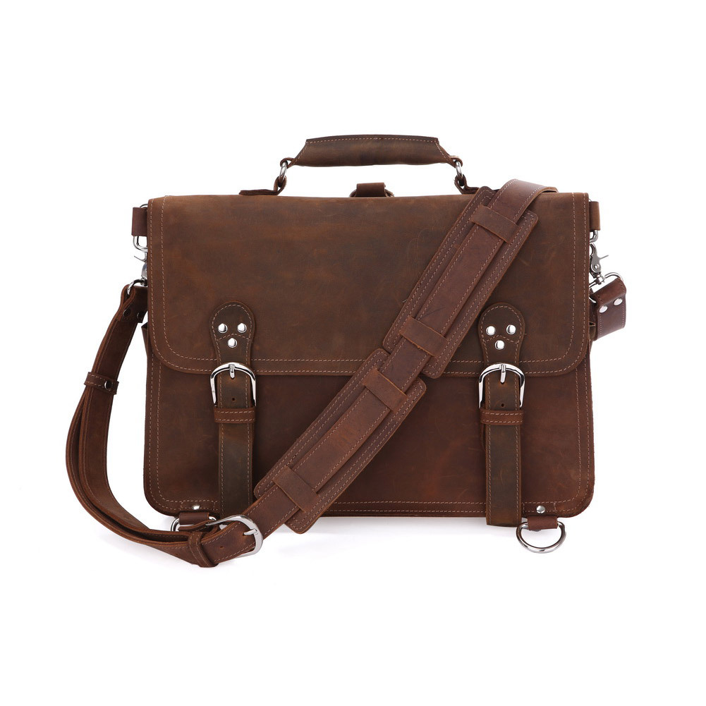 Rare Crazy Horse Leather Men's Brown Business Briefcase Laptop Totes Bag Dispatch Cross-body Shoulder Messenger Huge 16 inch