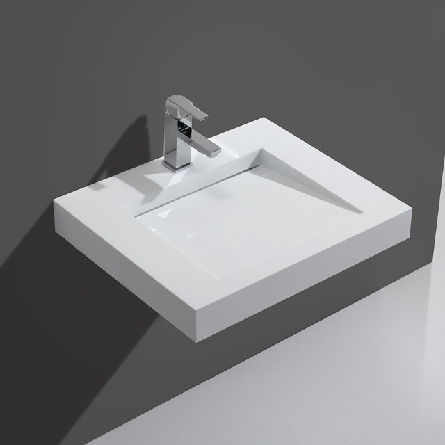 Direct Factory Price Kkr Artificial Stone Solid Surface Rectangular Wall Hung Wash Basin Bathroom Sink By Dhl Fast Shipping