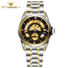 FNGEEN 8812 Men Mechanical hollow Watch Fashion mens Automatic Roman numerals wristwatch top quality famous waterproof clock
