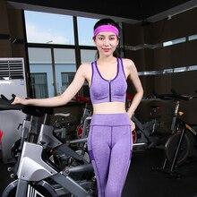 Hot!Women Sports Zipper Bra&Elastic Pants Yoga Set Sexy Fitness Tights Top Leggings Suit Girls Quick-Dry Gym Running Clothes Set