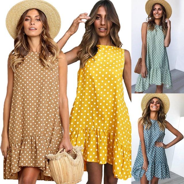 Wave Point Dress Ruffled O Neck sleeveless Mini Women Dresses 2019 summer Sundress New Fashion Casual Thin Beach Party vestidos