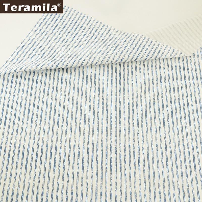 Teramila Tecido Material 100% Sarja de Algodão Folha de Cama Tecido Macio Impresso Incompleta Texitle Quilting Projeto Da Listra Azul