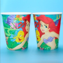 The little mermaid theme printing paper cup tableware for happy birthday Party drinking cups 50pcs