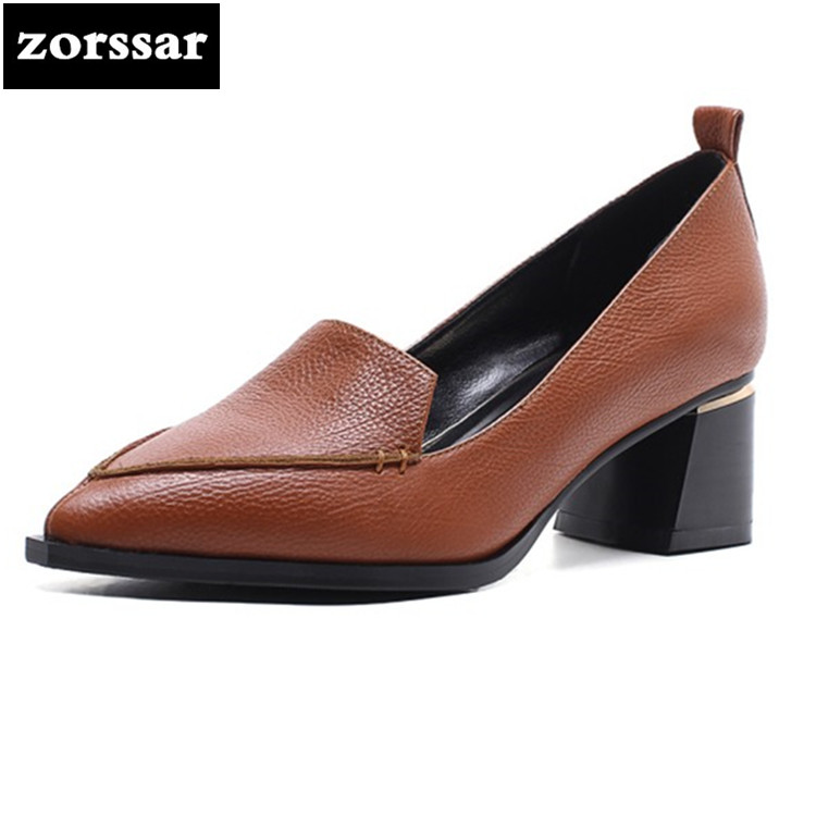 {Zorssar} 2018 NEW fashion Genuine Leather thick heel womens shoes heels Slip on Pointed toe High heels pumps ladies dress shoes new 2017 spring summer women shoes pointed toe high quality brand fashion womens flats ladies plus size 41 sweet flock t179