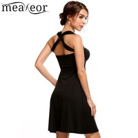 Meaneor Women S Sexy Backless Tube Top Summer Dress 2017 New Halter Sleeveless Solid Women Dress