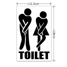 TIE LER 3 PCS Funny Toilet Entrance Wall Sticker for Shop Office Home Cafe Hotel DIY Toilet Door Stickers