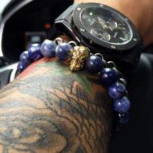 Mcllroy DIY Jewelry Hellboy Bracelets 8mm Natural Blue Stone Skeleton male Bracelet Lucky Beads Hell Baron Men Bangle