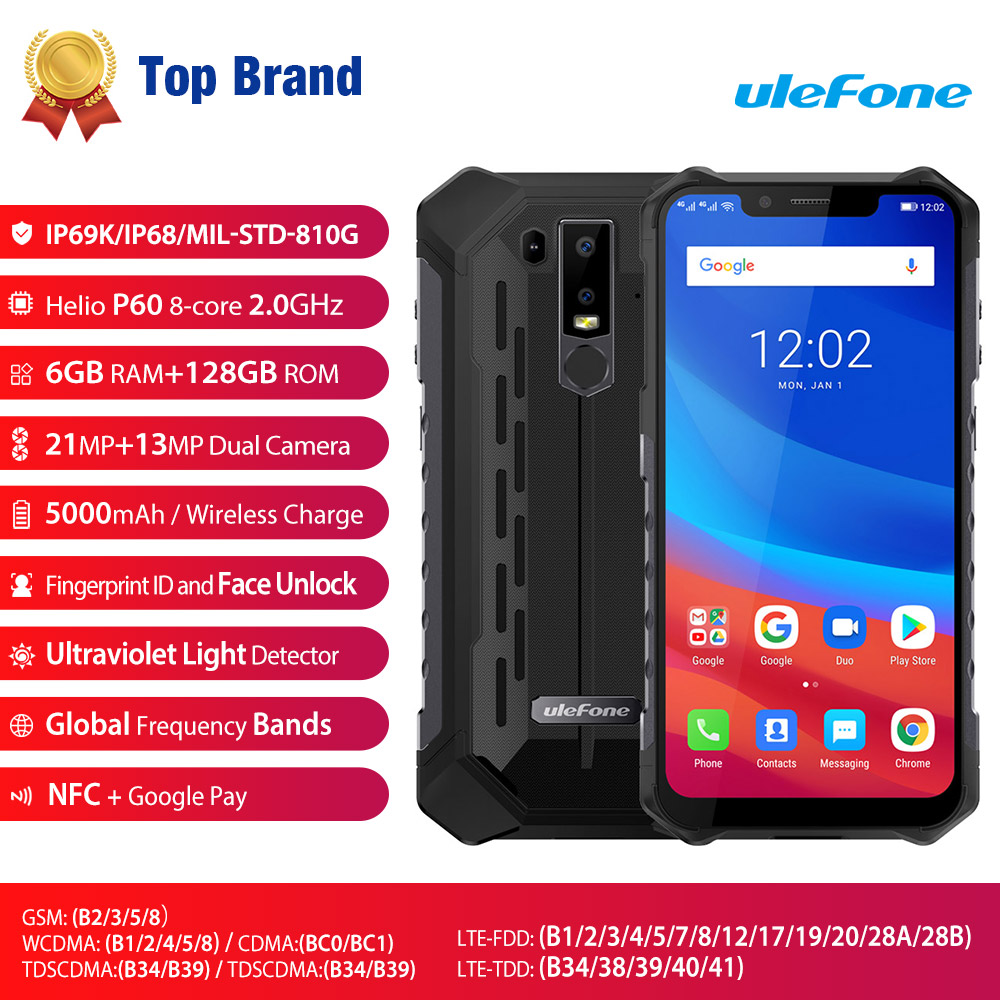 """Ulefone Armor 6 IP69K Waterproof Mobile Phone Android 8.1 6.2"""" FHD+ Octa Core 6GB+128GB NFC Face ID Wireless Charge Smartphone"""
