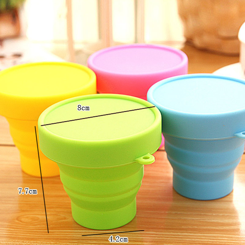 New Folding Gargle Candy Color Cup Solid Color Water Silicone Traveling Portable Foldabl ...