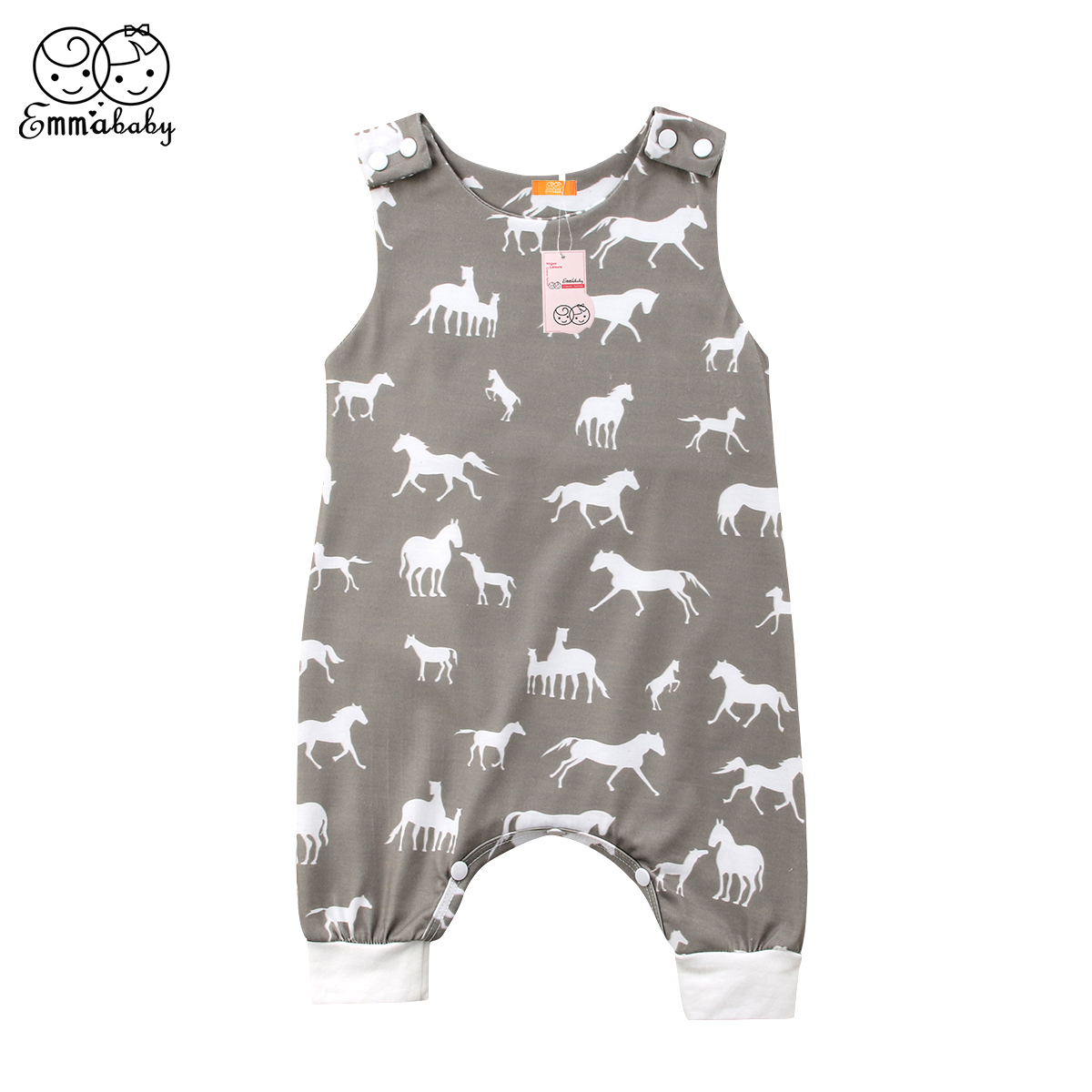 Newest Cute Baby Boy Girl Romper Summer Sleeveless Horse Pattern Jumpsuit Short Pants Kids Sunsuit One-Piece Baby Clothes fashionable scoop neck green leopard pattern sleeveless romper for women