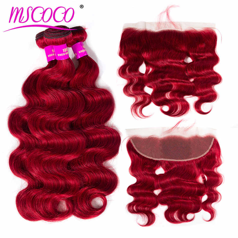 Brazilian Body Wave Ombre Red Bundles With Frontal Remy Pre Colored Human Hair Weave Ombre Bundles With Frontal