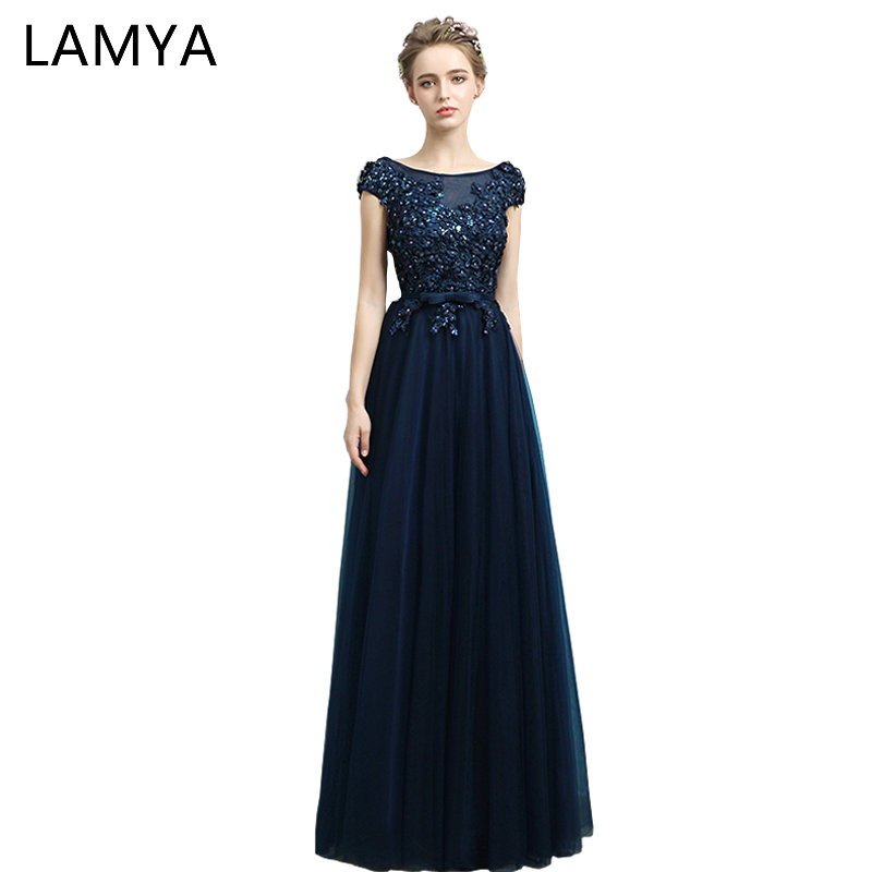 LAMYA Cheap Long Chiffion With Crystal Prom Dresses 2018 Real Photo Fashion Blue Evening Party Dress Elegant Vestidos De Novia