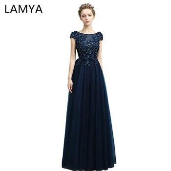 19ae2b92946 LAMYA pas cher longue mousseline avec des robes De bal en cristal 2019  Photo réelle mode bleu soirée robe élégante robes De Novia