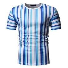 New tshirt Men Stripe Printed T-Shirt 2019 Fashion Stitching O-Neck Short-Sleeved Slim Fit Plus Size Male T-shirt M-2XL stripe pattern round neck stitching design t shirt in black