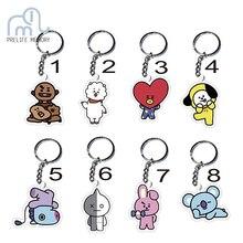 Prelife Memory Kpop BT21 BTS Bangtan Boys Keychain Album 8 Style KPOP BTS Keyring Women Bag Anime Keychain Trinket