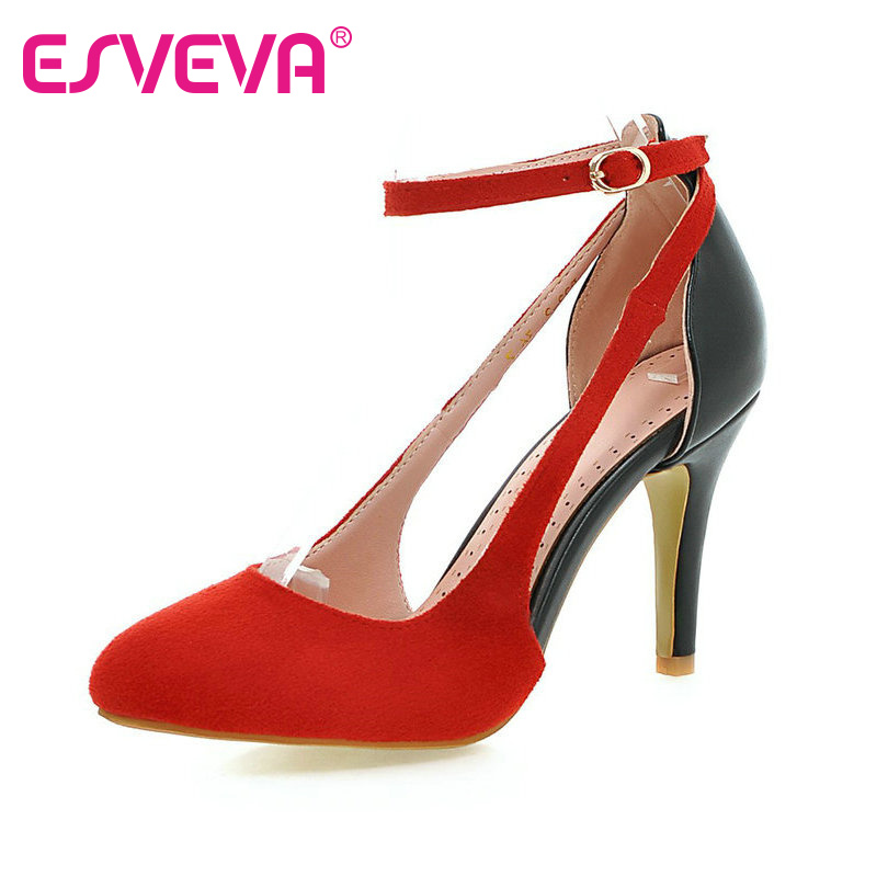 ФОТО ESVEVA Elegant 5 Color Scrub+PU Women Pumps Pointed Toe Buckle Strap Mixed Color Autumn/Spring Lady Party Shoes Size 34-43 Pink