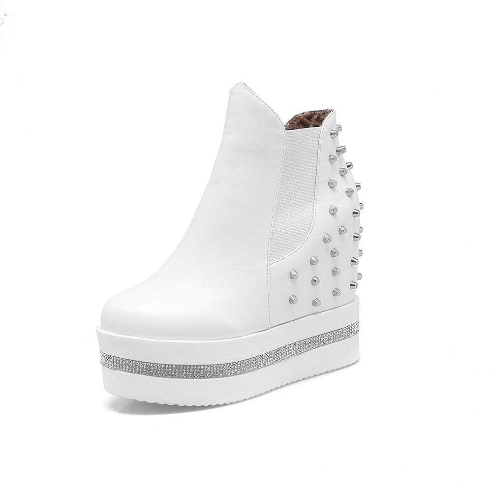 Femme Arrivée Britannique 2018 Bottines Sport Nouvelle Plateforme Talons De Noir À Style Femmes Chaussures Hauts Bottes blanc gY76bfy