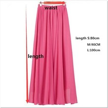 Long Skirt Elegant Style Women Pastel Pleated Maxi Chiffon Skirts 2018 Beach Boho Summer Skirts Faldas Saia Tulle Skirt