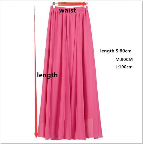 Plus Size Long Skirt Elegant Style Women Pleated Maxi Chiffon Skirts - Pakaian wanita - Foto 5