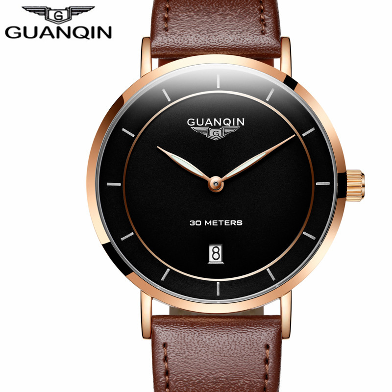 Relogio Masculino Men Watch New Fashion GUANQIN Simple Design Ultra thin Luxury Brand Quartz Watch Men Casual Leather Wristwatch цена и фото