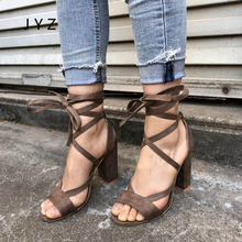 2018 New Fashion Womens Sandals Cross Tied Summer High Heels Platform Pupms Shoes Peep Toe Size 40 41 42 43 aa0794 new arrival spring autumn plus size 11 12 fashion elegant mature womens shoes cross tied rough with low heels single shoes