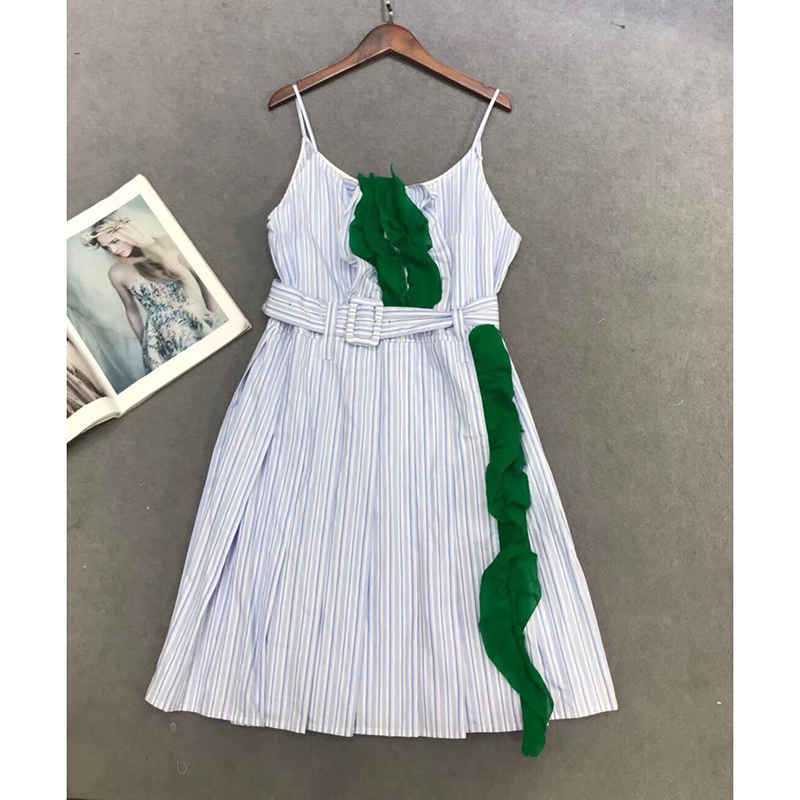 Summer sling strapless sexy party beach casual beach cotton striped print dress women's Belt waist dress robe femme boho dress