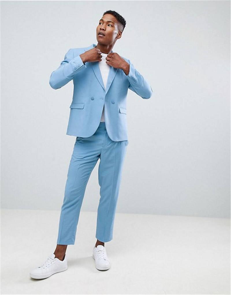 Slim Double Breasted Suit 2018 Casual Two Pieces Blue Men Suits for ...
