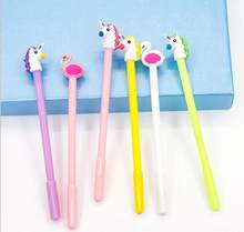 50pcs/lot Chic Flamingo Unicorn Smile Colors Writing Gel Pens Birthday Festival Party Takeaways Favor Office School Stationery(China)