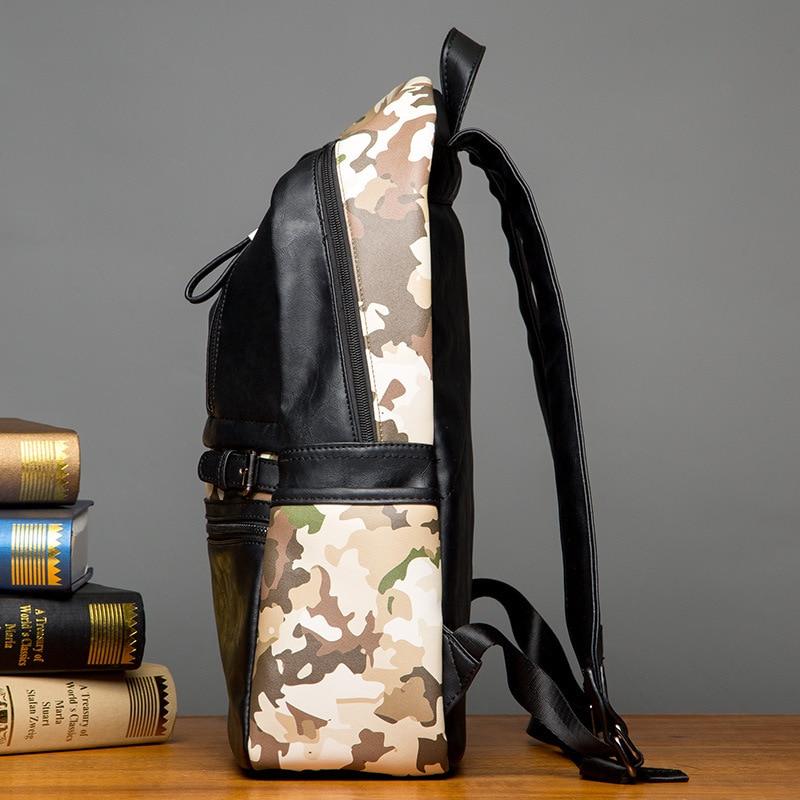 2017 Sale Kpop Mochilas Simple Large Capacity Mens Leather Backpack Casual Men Daypacks Travle Mochila Comouflage Hip-Hop