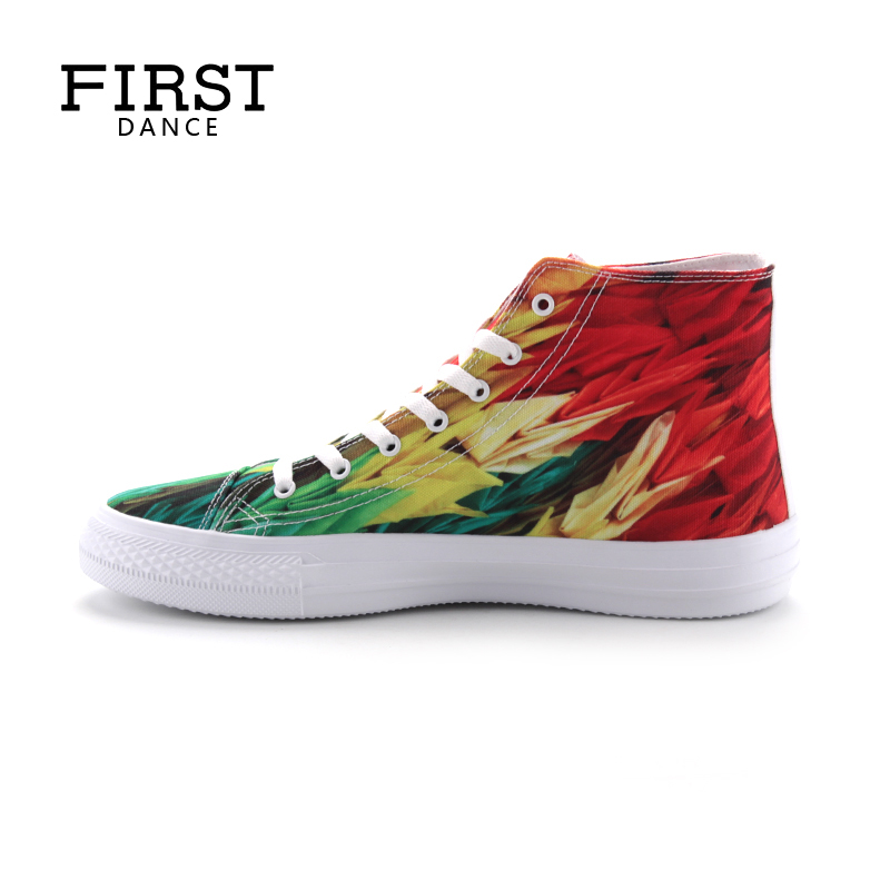 FIRST DANCE Fashion Men Classic Canvas Shoes Men High Top Male Canvas Flower Shoes Men Flats Casual Lace Up Shoes Spring xiaguocai spring autumn high top men shoes fashion canvas men s casual shoes lace up flat ankle boots for male