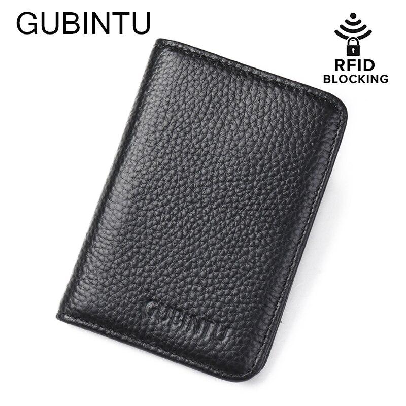 c796f16d0 Gubintu Cuero auténtico TARJETA DE Credi RFID cartera bolsillo delantero  monedero para hombre mujeres ID tarjeta bancaria paquete tarjetero pequeño  monedero