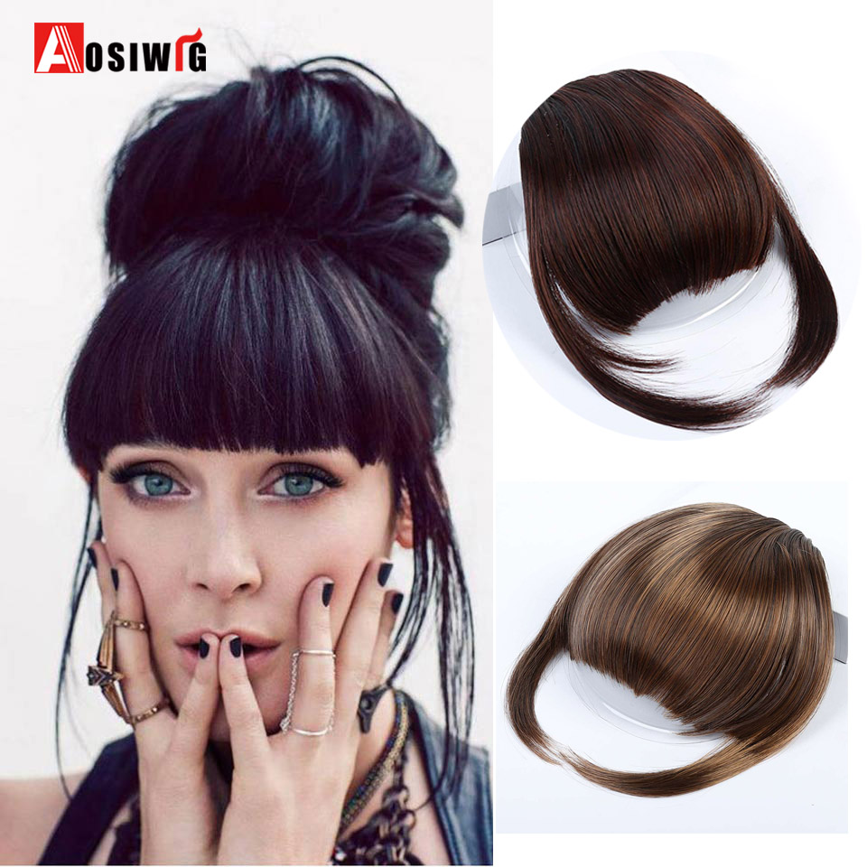 AOSIWIG Synthetic Bangs Black Red 8 Colors Straight Neat Bangs Clip In Hair Extensions High Temperature Fiber Bangs