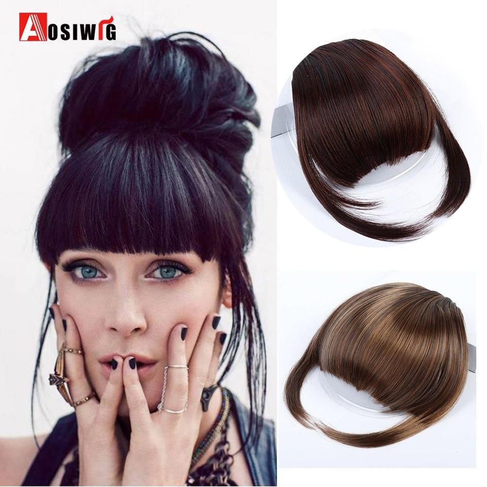 AOSIWIG frange synthétique noir rouge 8 couleurs droite soignée frange Clip dans Extensions de cheveux haute température Fiber frange