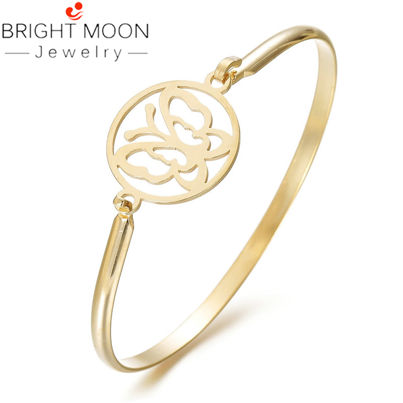 Bright Moon Silver Color Stainless Steel Cute Hollow Round Bangle Bracelet For Women Men Jewelry Gift Drop Shipping in Cuff Bracelets from Jewelry Accessories