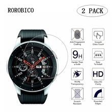 ROROBIC 2pcs Tempered Glass For Samsung Galaxy Watch 42mm 46mm Version Screen Protector Cover Protective Film Band+Cleaning Kit 2pcs pack tempered glass screen protector watch screen protective films for samsung galaxy watch 42 46mm
