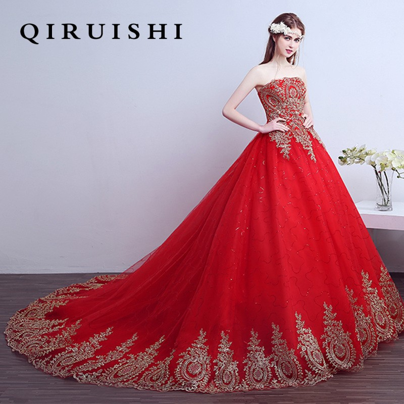 Cheap Plus Size Ball Gown Wedding Dresses: Free Shipping Lace Red Wedding Dress Long Train Satin Plus