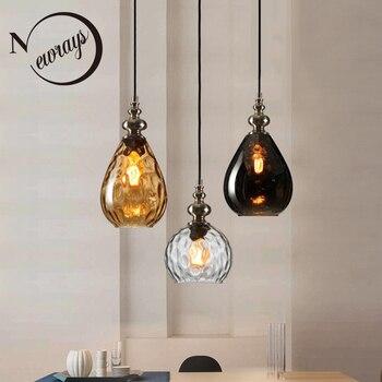 Nowoczesny skandynawski art deco szklany wisiorek światła LED E27 vintage kreatywny wiszące lampa do sypialni restauracja lobby salon hotel