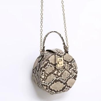 цена на Retro Serpentine Chain Round Bag Women Handbags Printed Small PU Leather Shoulder Crossbody Bags Female Serpentine Messenger Bag