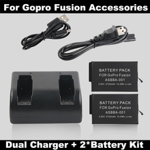 2PCS 2720mAh battery For Gopro Fusion 360 VR Camera  + Dual batteries Charger Go Pro Accessories ASBBA-001